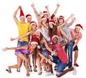 Group people in santa hat. Stock Photography