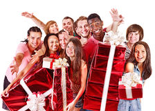 Group people in santa hat. Group people in santa hat with gift box. Isolated Stock Image