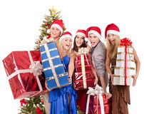 Group  people in santa hat holding stack gift box. Royalty Free Stock Photography