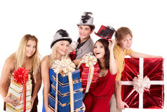 Group  people in santa hat holding stack gift box. Royalty Free Stock Image