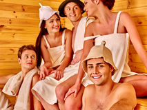 Group people in Santa hat  at sauna Stock Photos