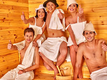 Group people in Santa hat  at sauna Stock Photo