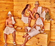 Group people in Santa hat  at sauna Royalty Free Stock Photo