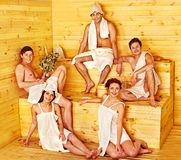 Group people in Santa hat at sauna. stock photography