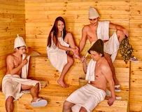 Group people in Santa hat  at sauna Royalty Free Stock Photos