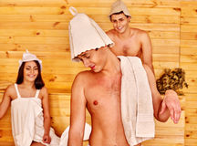 Group people in Santa hat  at sauna Royalty Free Stock Photography