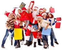 Group people and Santa. royalty free stock photos