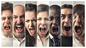 Group of people screaming very loud Royalty Free Stock Photography