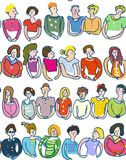 Group of people seamless pattern, sketchy style, graphic illustration Stock Photo
