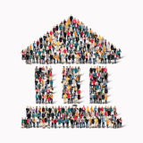 Group  people  shape  ancient building Royalty Free Stock Photo