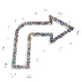 Group people  shape  arrow icon. A large group of people in the shape of an arrow, icon , isolated on white background, 3D illustration Stock Photos
