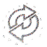 Group people  shape  arrow icon. A large group of people in the shape of an arrow, icon , isolated on white background, 3D illustration Royalty Free Stock Images