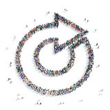 Group people  shape  arrow icon. A large group of people in the shape of an arrow, icon , isolated on white background, 3D illustration Stock Image