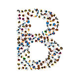 A group of people in the shape of English alphabet letter B on light background. Vector illustration. Stock Photo