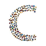 A group of people in the shape of English alphabet letter C on light background. Vector illustration. Stock Photos