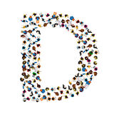 A group of people in the shape of English alphabet letter D on light background. Vector illustration. Stock Image