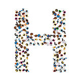 A group of people in the shape of English alphabet letter H on light background. Vector illustration. Royalty Free Stock Photos