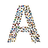 A group of people in the shape of English alphabet letter A on light background. Vector illustration. Stock Photography