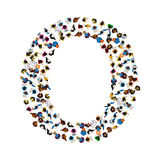 A group of people in the shape of English alphabet letter O on light background. Vector illustration. Stock Photo
