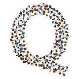 A group of people in the shape of English alphabet letter Q on light background. Vector illustration. Stock Image
