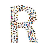 A group of people in the shape of English alphabet letter R on light background. Vector illustration. Stock Photos