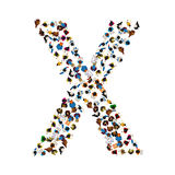 A group of people in the shape of English alphabet letter X on light background. Vector illustration. Stock Images