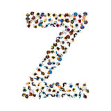 A group of people in the shape of English alphabet letter Z on light background. Vector illustration. Stock Photos