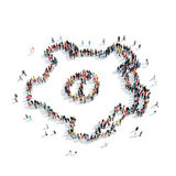 Group  people  shape  gear. A group of people in the shape of gear is isolated, cartoon, white background Royalty Free Stock Photo