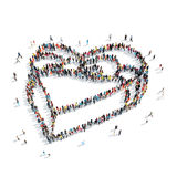 Group  people  shape  gift heart Royalty Free Stock Photo