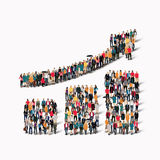 Group  people  shape  growing graph Royalty Free Stock Images