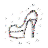 Group  people  shape  shoe. A group of people in the shape of shoe, a flash mob Royalty Free Stock Photo