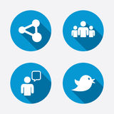 Group of people and share icons. Speech bubble Stock Photos