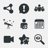 Group of people and share icons. Video camera. Group of people and share icons. Add user and video camera symbols. Communication signs. Attention, investigate Stock Image