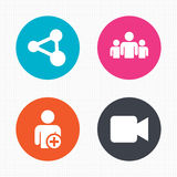 Group of people and share icons. Video camera Royalty Free Stock Photos