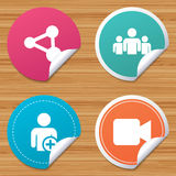 Group of people and share icons. Video camera. Royalty Free Stock Photo