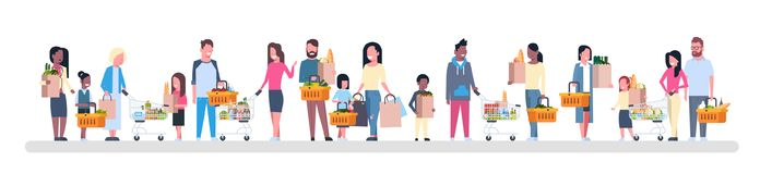 Group Of People Shopping Holding Paper Bags, Baskets And Carts Full Of Grocery Products Isolated On White Background. Flat Vector Illustration Royalty Free Stock Images