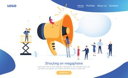 Group of people shouting on megaphone vector illustration concept can use for, landing page template royalty free illustration