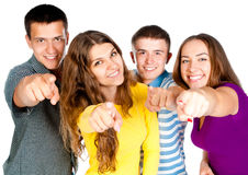 Group  people show forefingers Royalty Free Stock Images