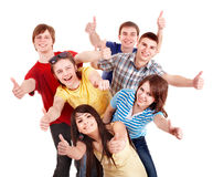 Group people showing thums up. Stock Photo