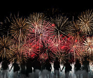 Group of people silhouette enjoy watching firework show Royalty Free Stock Image