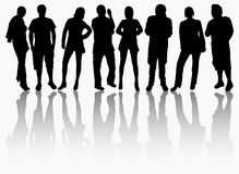 Group of people silhouettes stock illustration