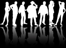 Group of people silhouettes Stock Image