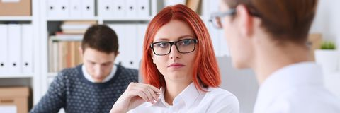Free Group People Sit In Office Deliberate On Problem Stock Photo - 102893380