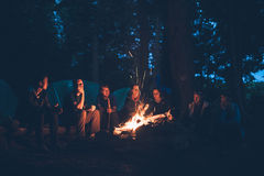 Group of People Sitting Near Bonfire Stock Images