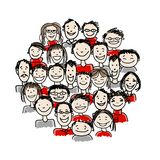 Group of people, sketch for your design Royalty Free Stock Images