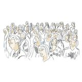 Group of people, sketch for your design Stock Image