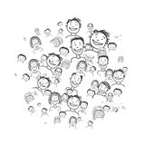 Group of people, sketch for your design Stock Photography