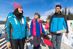 Group Of People Ski And Snowboard Resort Winter Snow Mountain Cheerful Happy Smiling Friends Talking Holiday Royalty Free Stock Photography