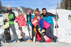 Group Of People Ski And Snowboard Resort Winter Snow Mountain Happy Smiling Friends On Holiday Royalty Free Stock Photos