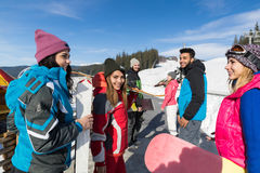 Group Of People Ski And Snowboard Resort Winter Snow Mountain Happy Smiling Friends Talking Holiday Royalty Free Stock Photography